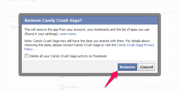 Removing Candy Crush Saga from Facebook