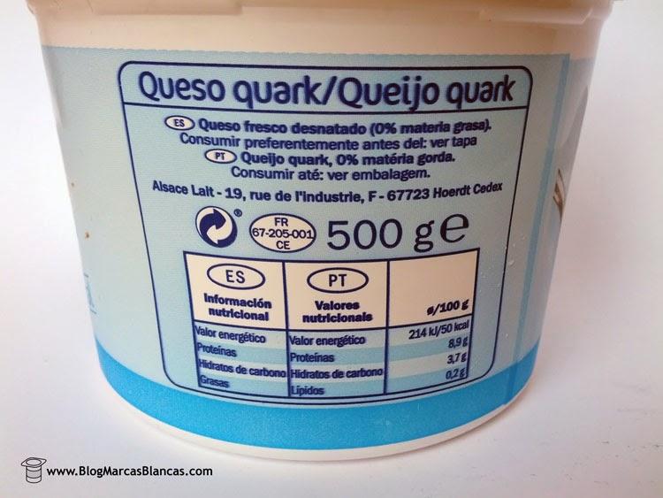 Información nutricional del queso quark desnatado Linessa de Lidl.