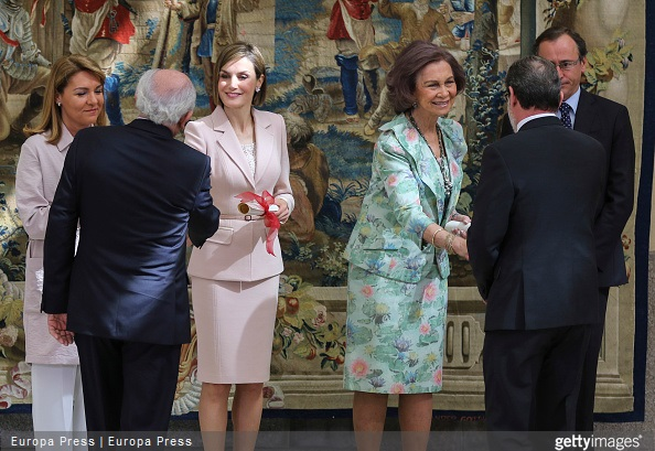 Queen Letizia of Spain, Queen Sofia and Alfonso Alonso attend 'Queen Sofia Awards' at El Pardo Palace