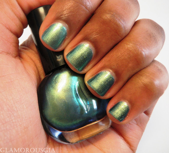Review and swatches of Sephora nail polish Moody Woman a blue/green metallic duochrome polish.