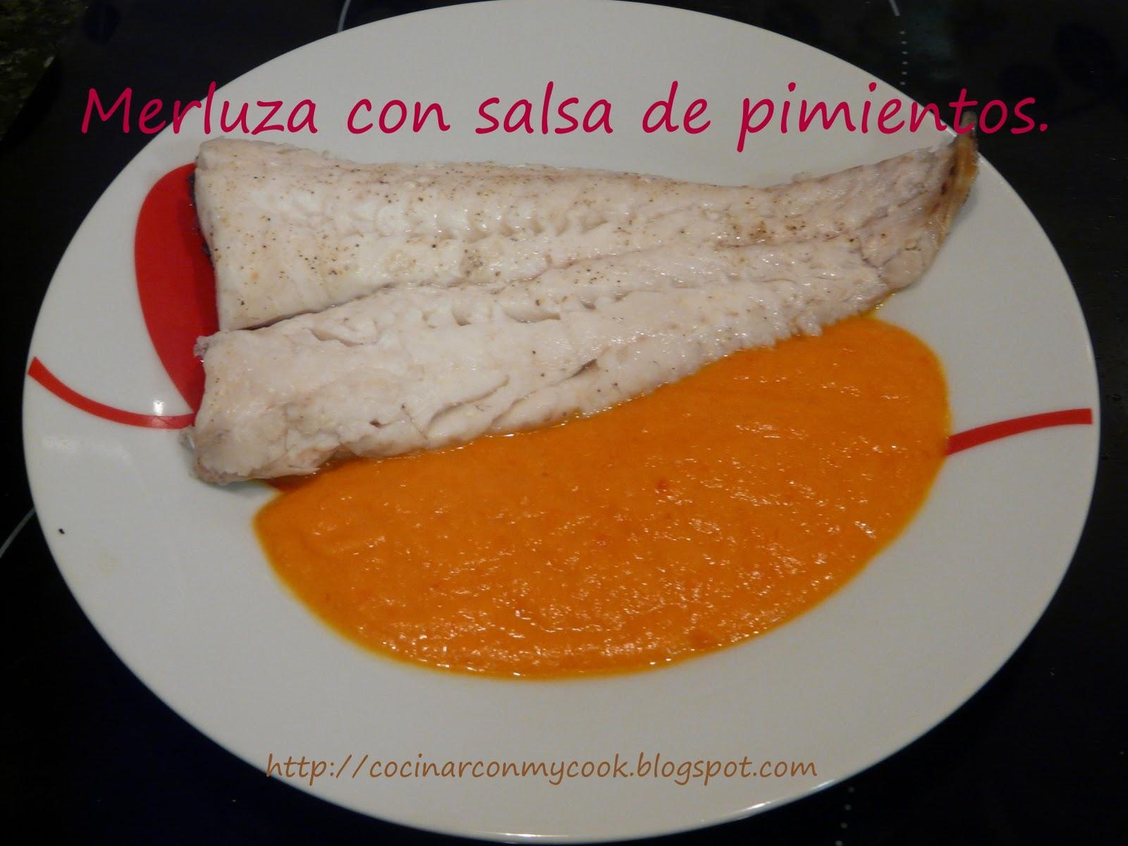 Cocinar con mycook merluza con salsa de pimientos - Cocinar merluza en salsa ...