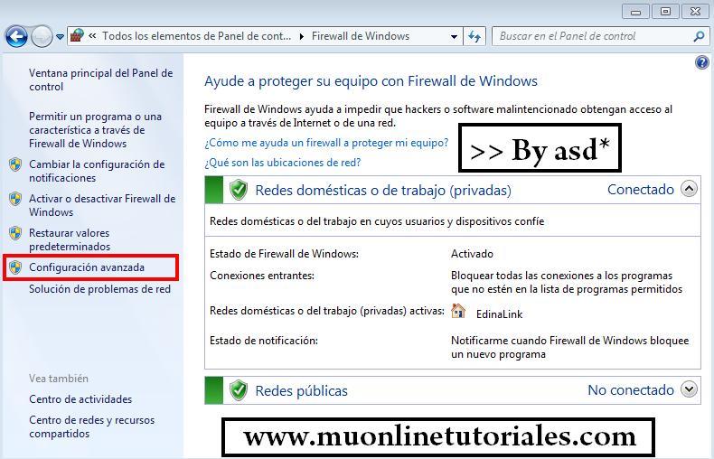 Configuración avanzada del firewall
