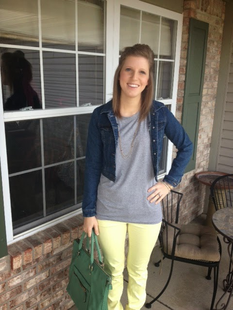 yellow skinny jeans, green bag, green purse, denim jacket