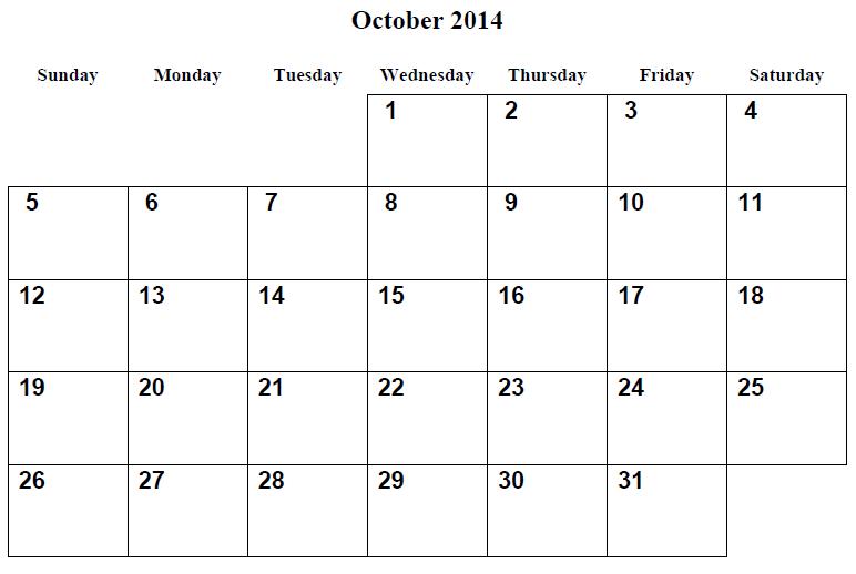 October 2014 Calendar Printable 2 Printable Calendar 2014 Blank