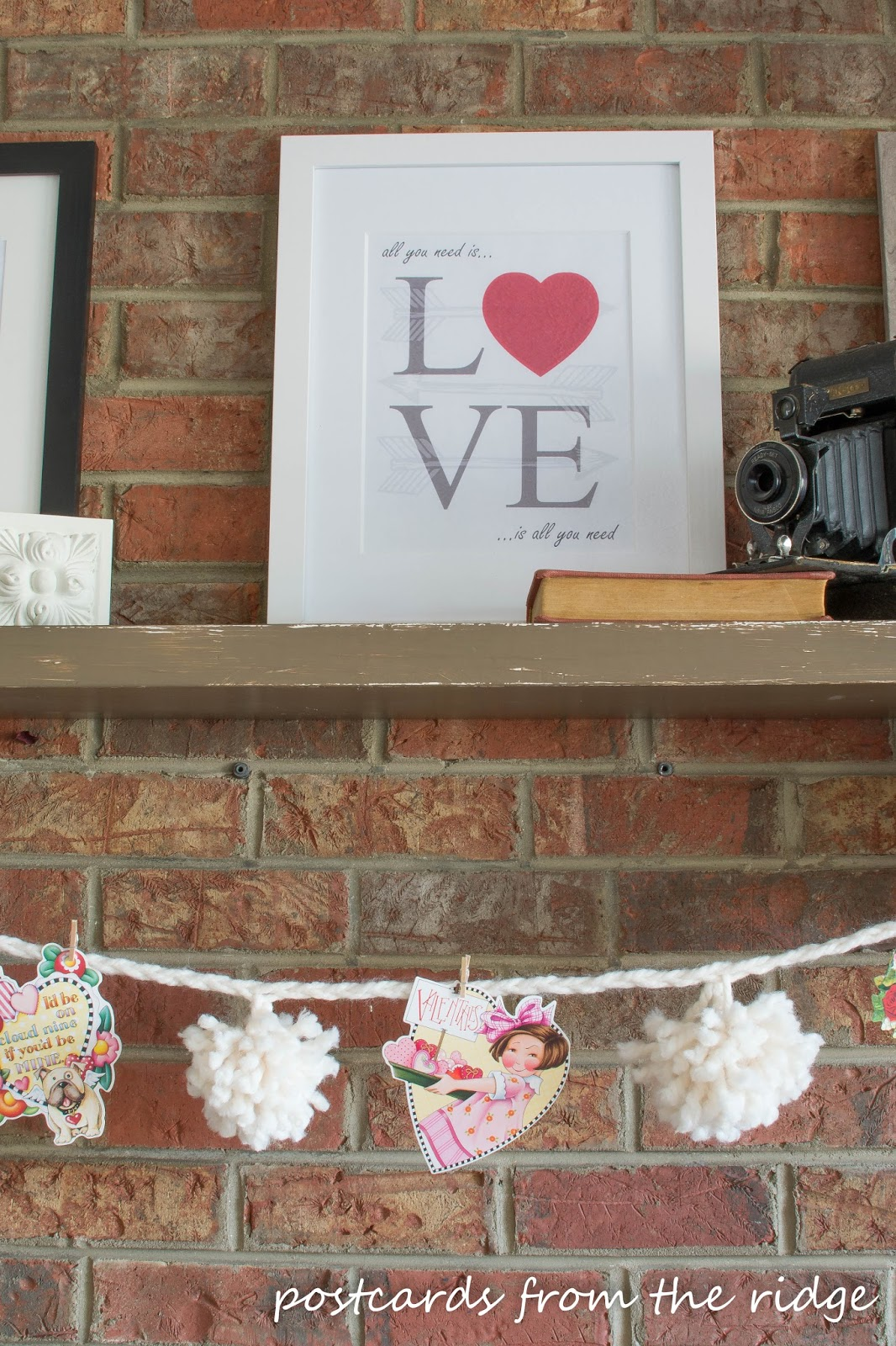"""""""All you need is love"""" free Valentine's printable artwork. I love this! Postcards from the Ridge."""