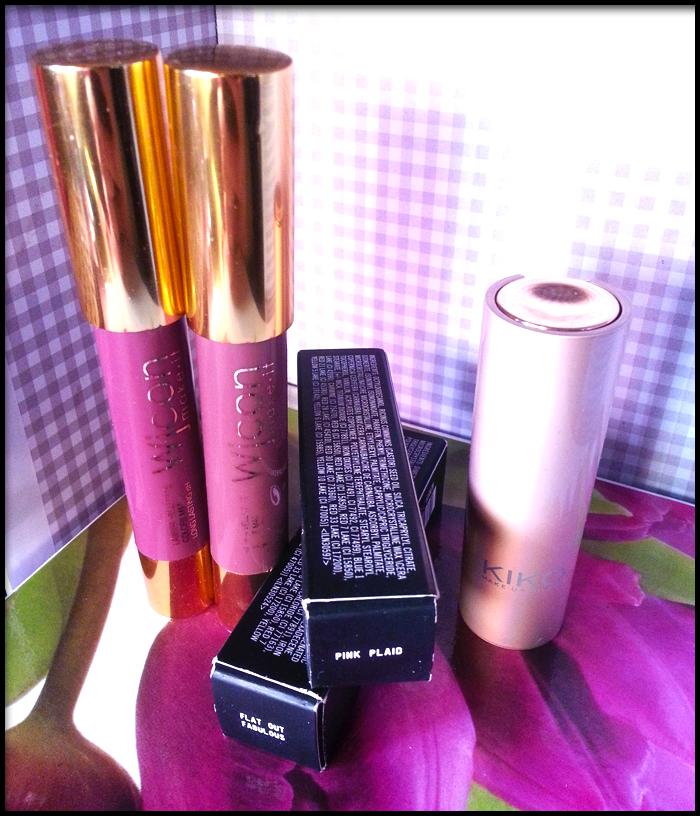 MAC Pink Plaid, Kiko Velvet Mat n° 613, Wjcon Pulpy Mat Lip n° 4, Wjcon Pulpy Mat Lip n° 5, MAC Flat Out Fabulous