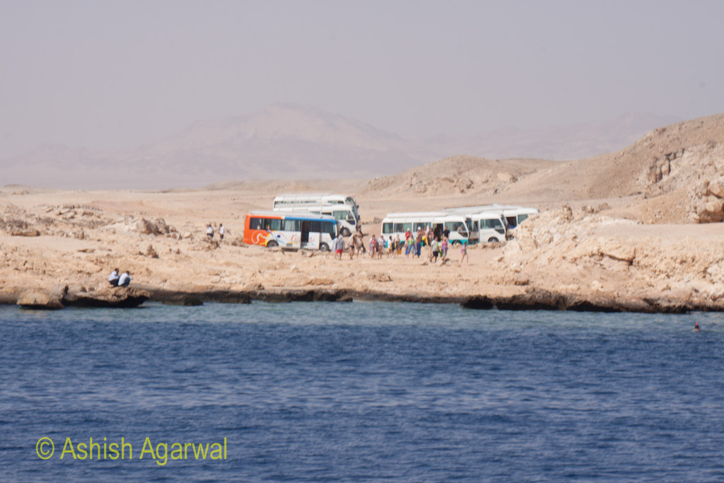 Tourists on the shoreline near the Ras Muahmmed marine park near Sharm el Sheikh in Egypt