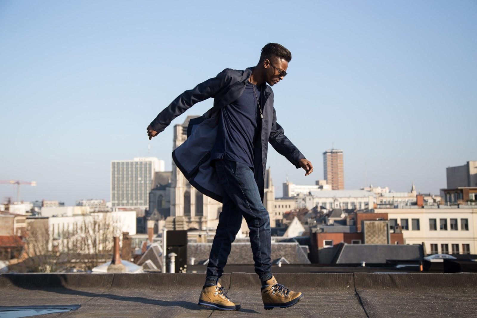 JONTHEGOLD rooftop skyline blue g-star raw coat wefashion jogger  timberland boots salvatore ferragamo sunglasses bohemian vixen accessories