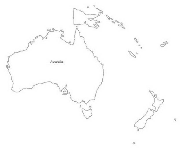 Mapa de Oceanía para colorear - Dibujo Views