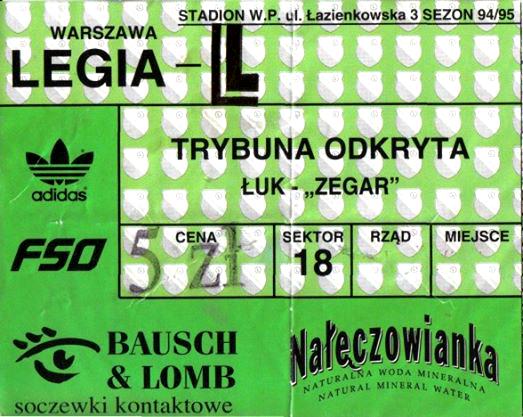 Bilet z meczu Legia - Widzew z 1996 r. - fot. Tomasz Janus / sportnaukowo.pl
