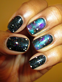 Galaxy, black, purple, turqouise, holo glitter, China Glaze Fairy Dust, Star Trek: Into Darkness, nails, nail art, nail design, mani