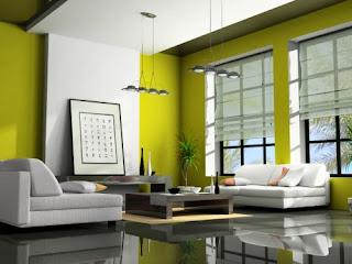 ruang keluarga tema hijau fresh