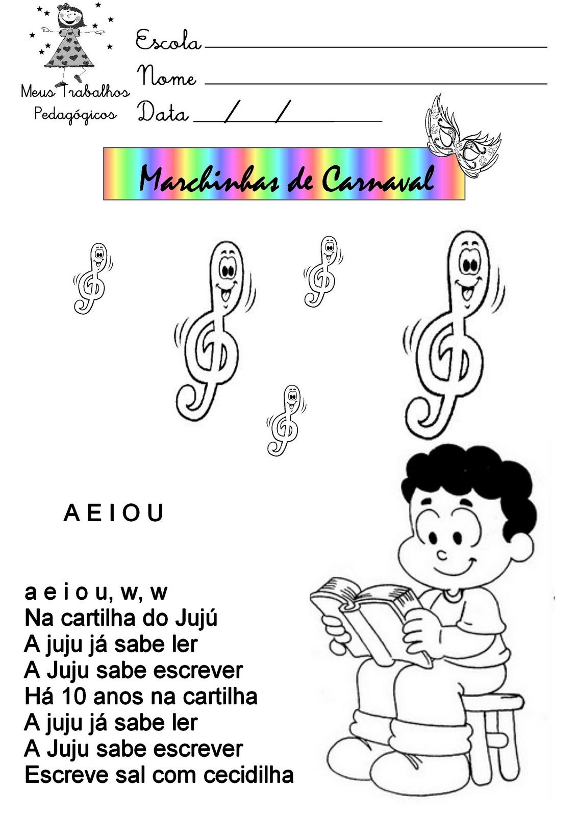 Fabuloso Meus Trabalhos Pedagógicos ®: Texto com Marchinhas de Carnaval PO11