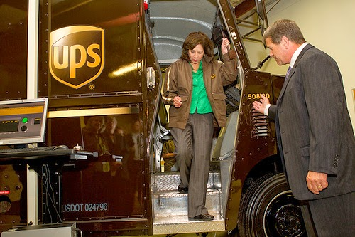 The then Secretary of Labor Hilda Solis tours UPS facility - June, 2012. Labor officials should quit the PR tours and  to start protecting workers.