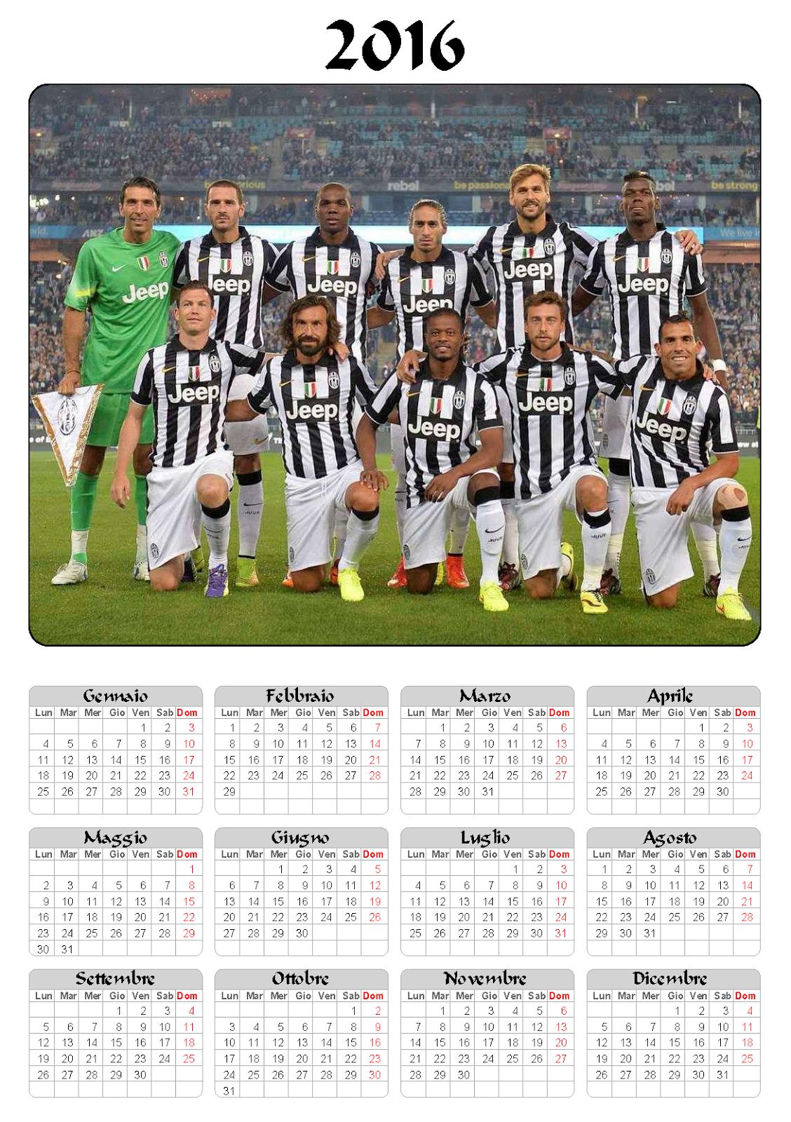 calendario 2016 - juventus - annuale - juventus