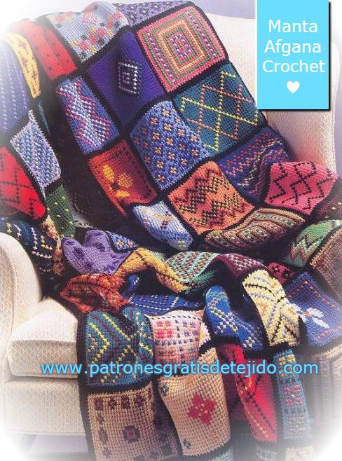 Patrones de manta tejida con crochet jackard