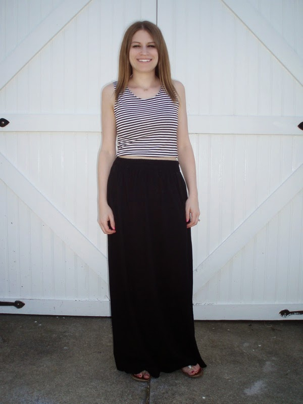 the tiny striped crop top black maxi skirt