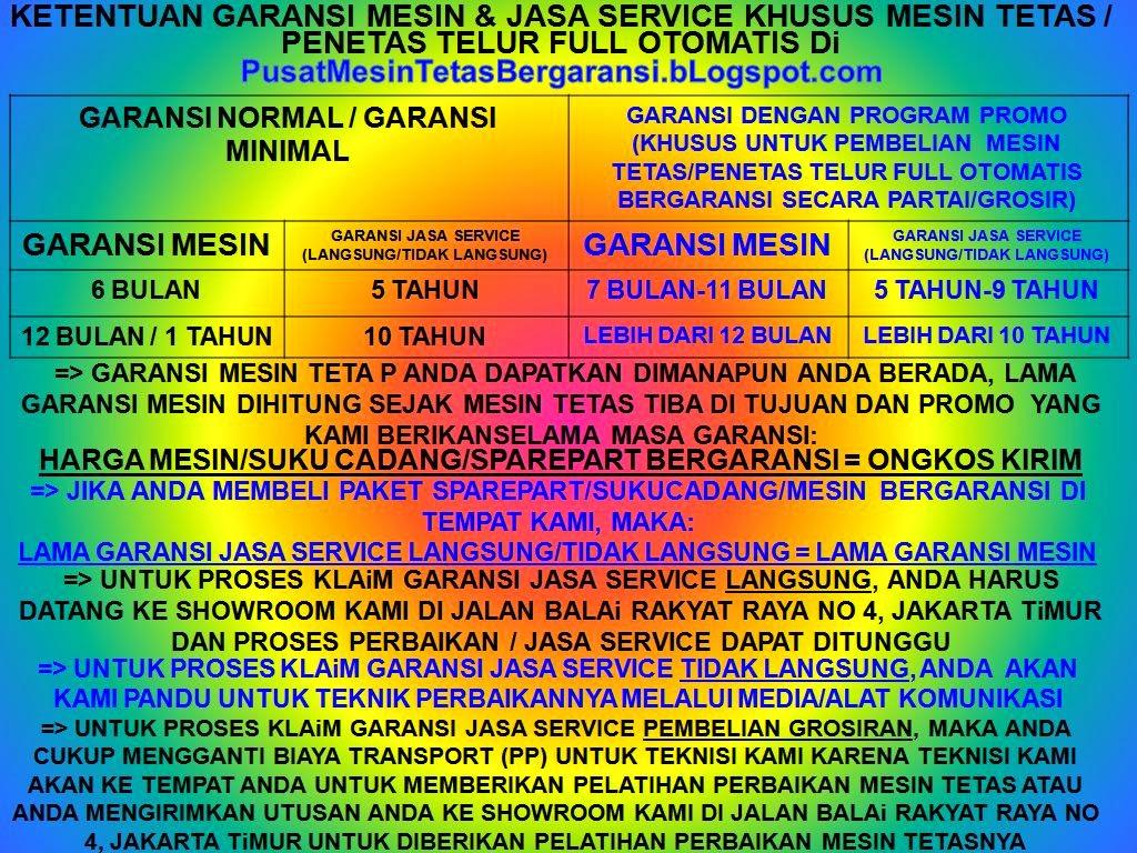 GARANSI YANG ANDA DAPATKAN KHUSUS MESIN TETAS/PENETAS TELUR FULL OTOMATIS