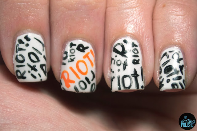 nails, nail art, nail polish, paramore, paramore riot!, riot!, riot, orange, white, black, hey darling polish