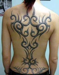 Beautiful Tribal Back Tattoo Design for Girls