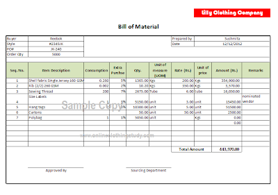 Fashion costing sheet template 33