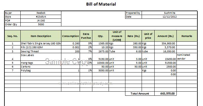 Bill Of Material Bom Format Online Clothing Study