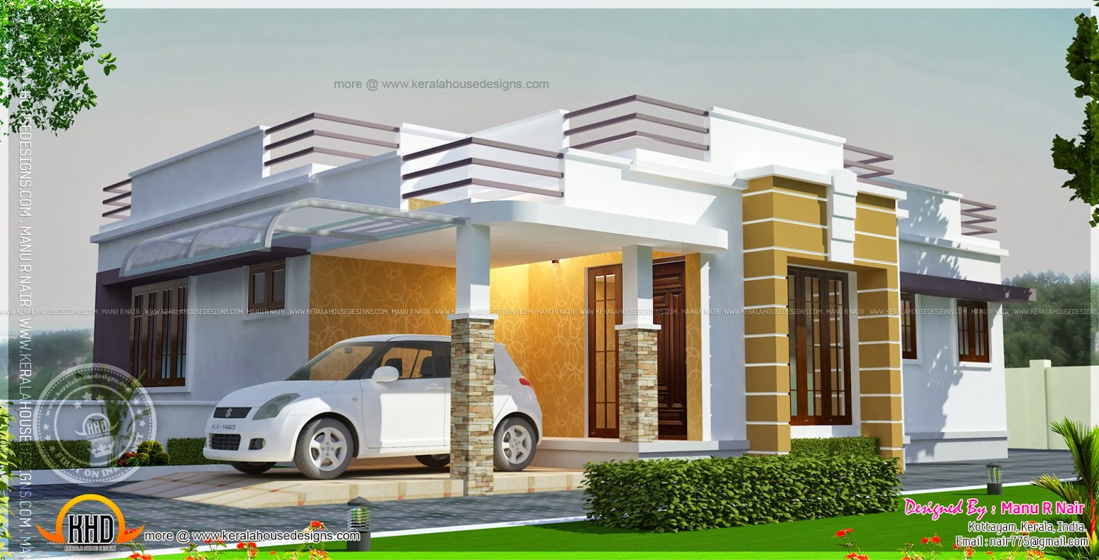 Front Elevation Parapet Wall : This proposed house is located at kottayam kerala home