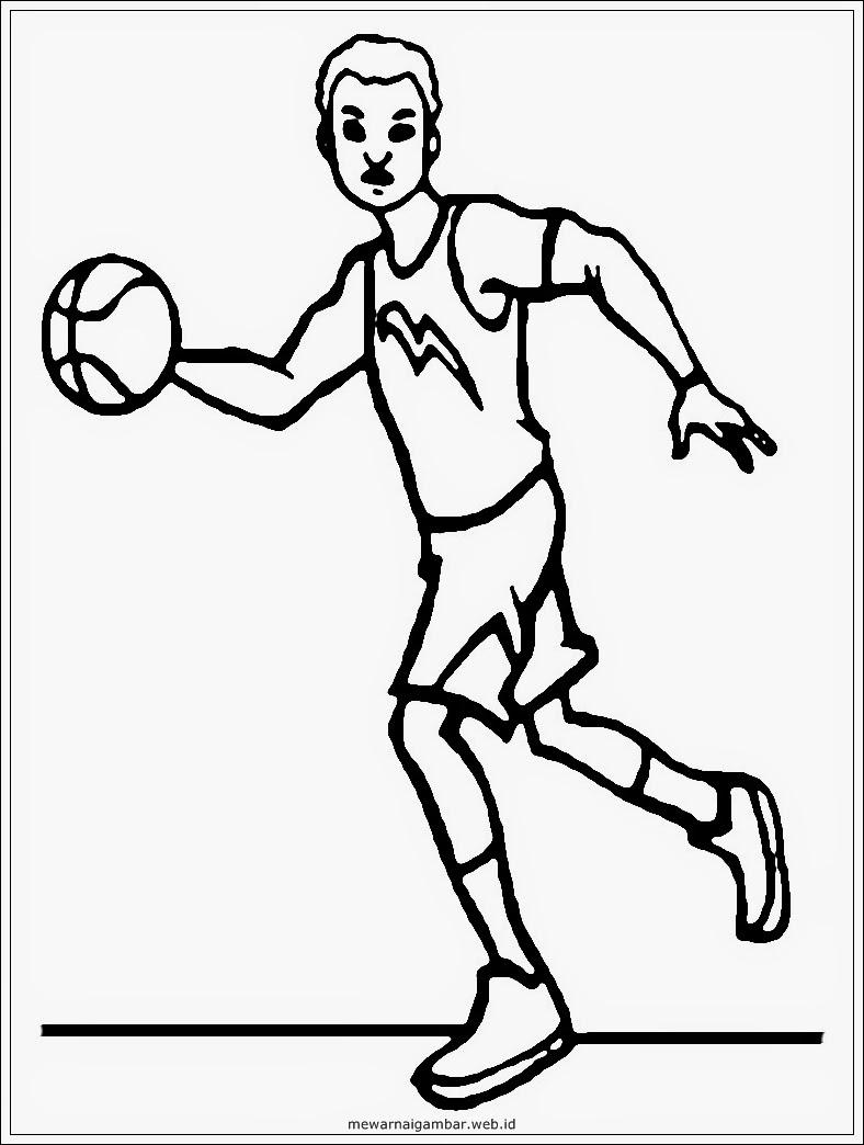 gambar mewarnai profesi pemain bola basket