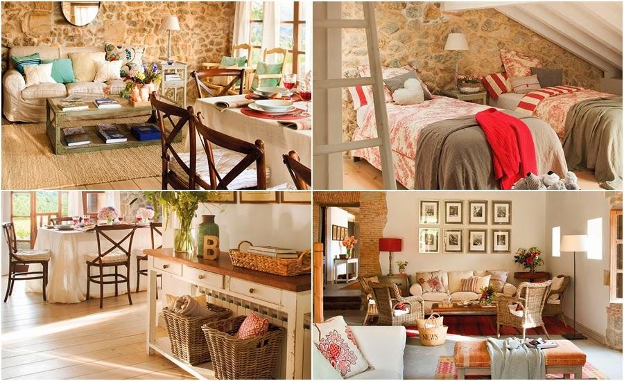 wnętrza, styl rustykalny, styl wiejski, kamienna ściana, stare meble, antyki, drewniane belki, białe wnętrza