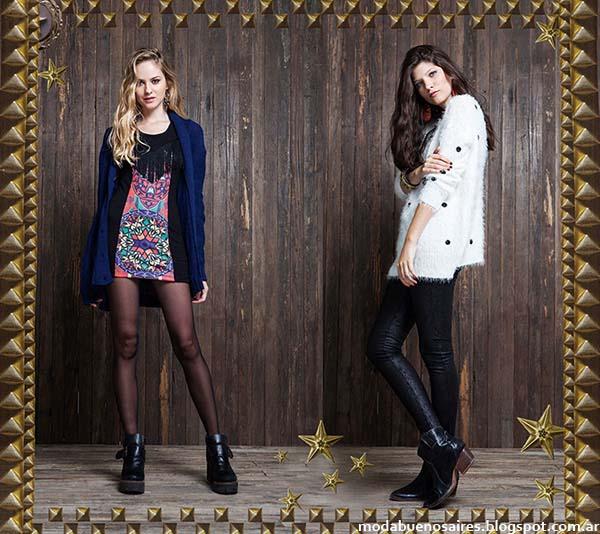 Sweaters. vestidos cortos, pantalones engomados, moda otoño invierno 2014 colección de la marca argentina Rimmel.