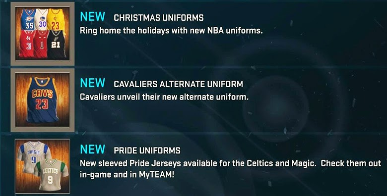 NBA 2K15 Adds Christmas, Pride & Cavs Alternate Jerseys