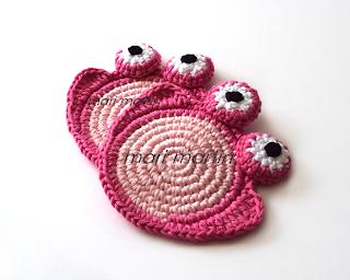 Crochet Coasters Pink Frog