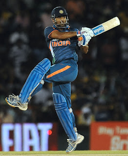 MS Dhoni jump and play for boundary