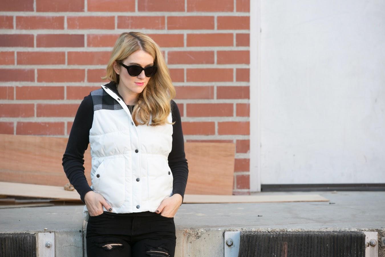 Black + White | White Eddie Bauer Puffer Vest w. Plaid Shoulders + Black Distressed Jeans + Black Croc Sneakers | Luci's Morsels :: LA Denim Blogger