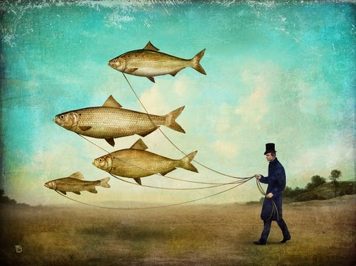 16-Walking-the-Fish-Christian-Schloevery-Surreal-Paintings-Balance-of-Mind-and-Heart-www-designstack-co