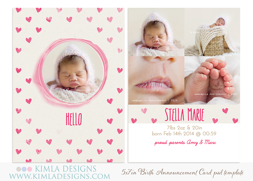 new Birth Announcements Cards and Timeline Covers PSD Templates – Valentine Birth Announcement