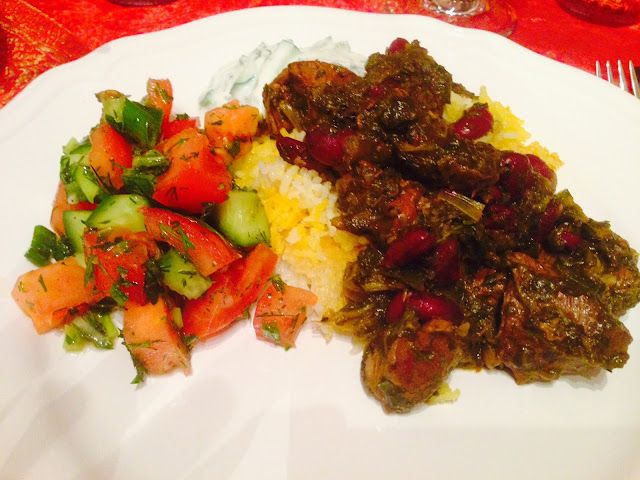 Persian saffron rice, Ghormeh Sabzi and Shirazi salad