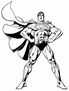 Superman with strong muscled body and standing coloring page for children to apply colors