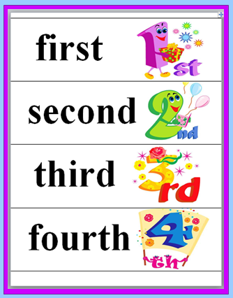 Classroom Freebies: Ordinal Words and Numbers Matching Game
