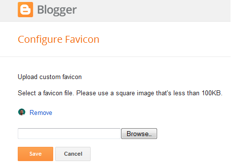 Upload custom blogspot favicon