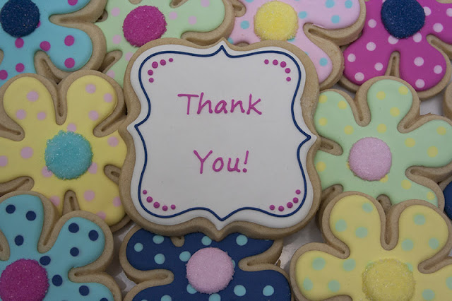 Thank you polka dot flower cookies