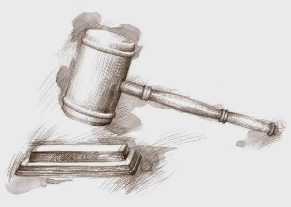 drawing of a judge's gavel