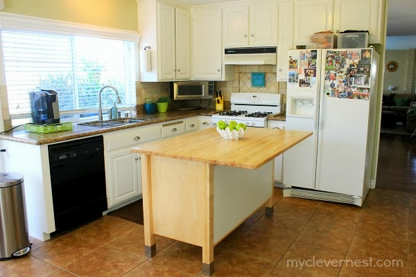 Kitchen island makeover, Ikea Varde. How to seal butcher block #clever_nest