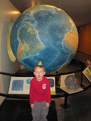 Sean with the biggest world he's ever seen!