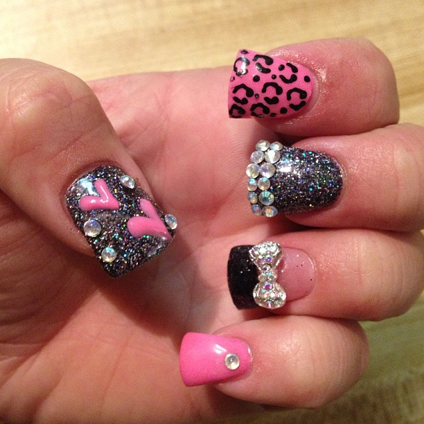 rhinestone nails design