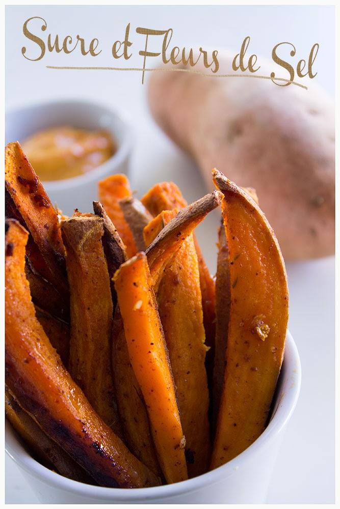 Sucre et fleurs de sel frites de patates douces au four - Frite de patate douce au four ...