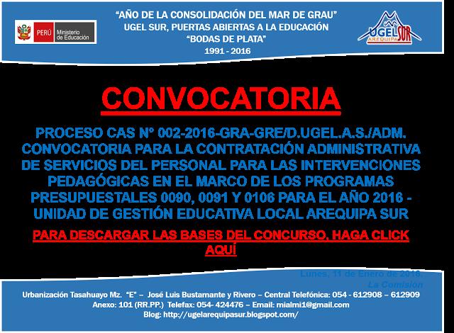 CONVOCATORIA CAS 002