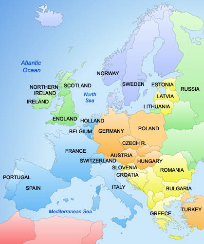 Map of europe countries pictures