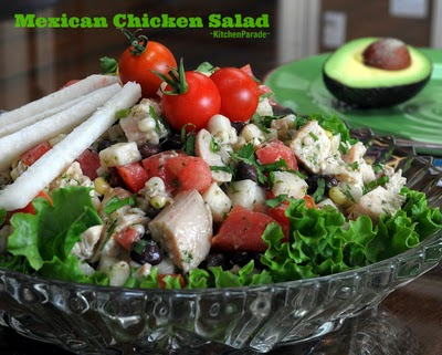 Mexican Chicken Salad, a quick supper, rotisserie chicken tossed with lime-yogurt vinaigrette, black beans, jicama, corn and tomato.