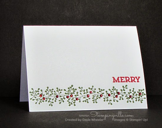 Bordering Blooms + rhinestones + merry = beautiful simple Christmas card | Stampingville #cardmaking #papercrafts #StampinUp